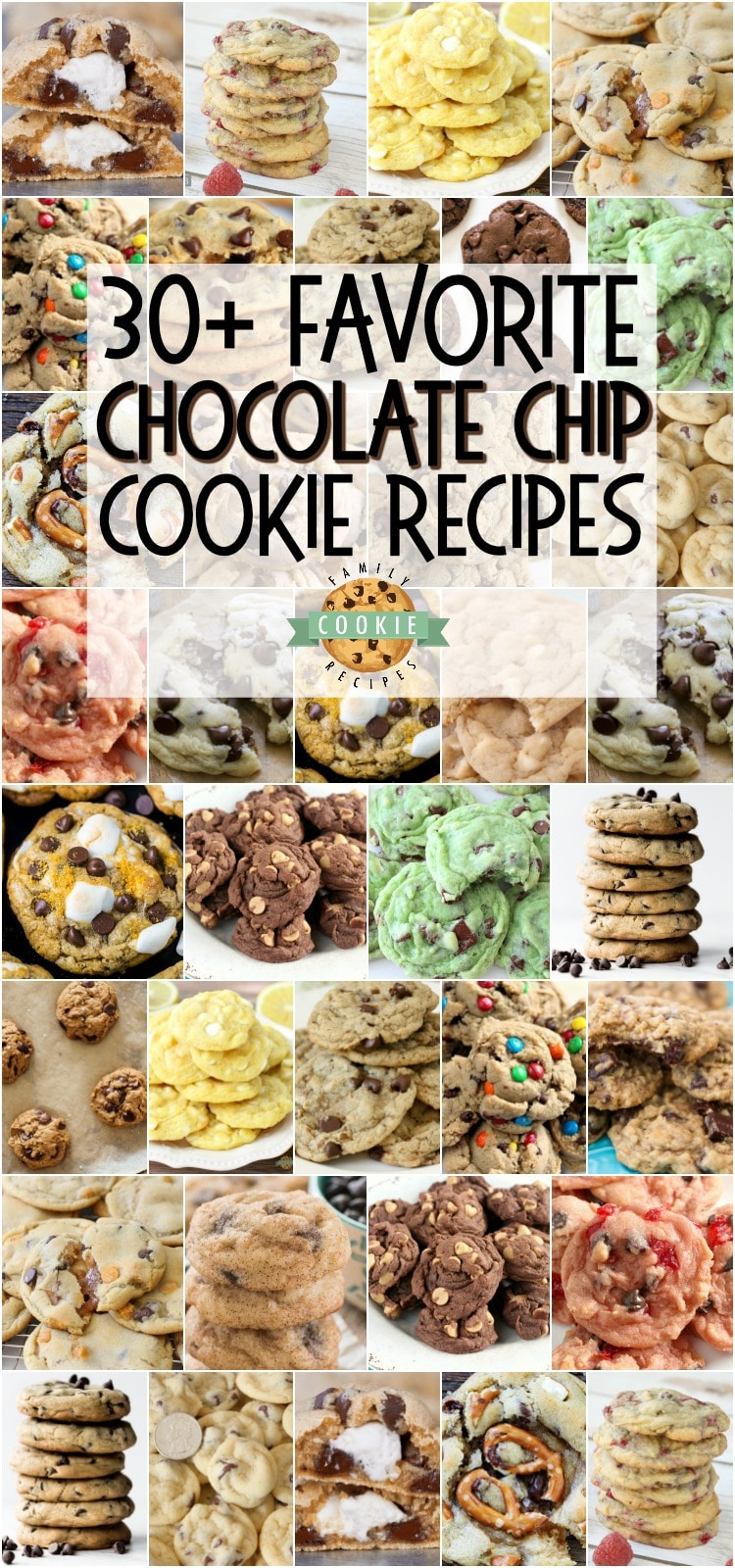 Best Chocolate Chip Cookies - everything from Classic Chocolate Chip, to Peanut Butter Chocolate Chip and even to Cherry Chocolate Chip cookies, this collection of homemade chocolate chip cookie recipes is sure to become a favorite! via @familycookierecipes