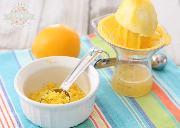 lemon juice and lemon zest