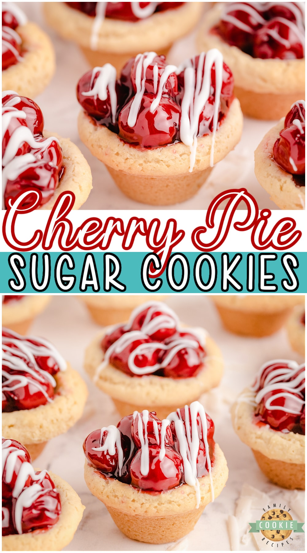 Cherry Pie Cookies are cherry pie in cookie form! Easy to make sugar cookies filled with sweet cherries and drizzled with white chocolate. #cookies #cherrypie #baking #dessert from FAMILY COOKIE RECIPES via @buttergirls