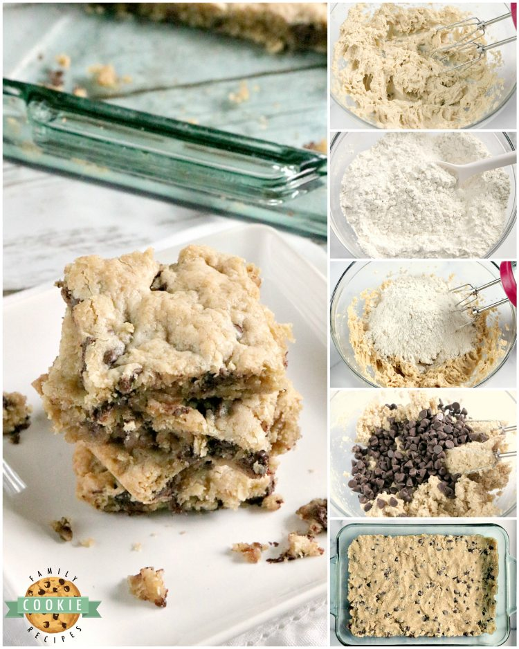 Oatmeal Chocolate Chip Cookie Bars are soft, chewy and easy to make when you don't have time to scoop individual cookies! This delicious cookie bar recipe is filled with oats and chocolate chips and comes together in just a few minutes.