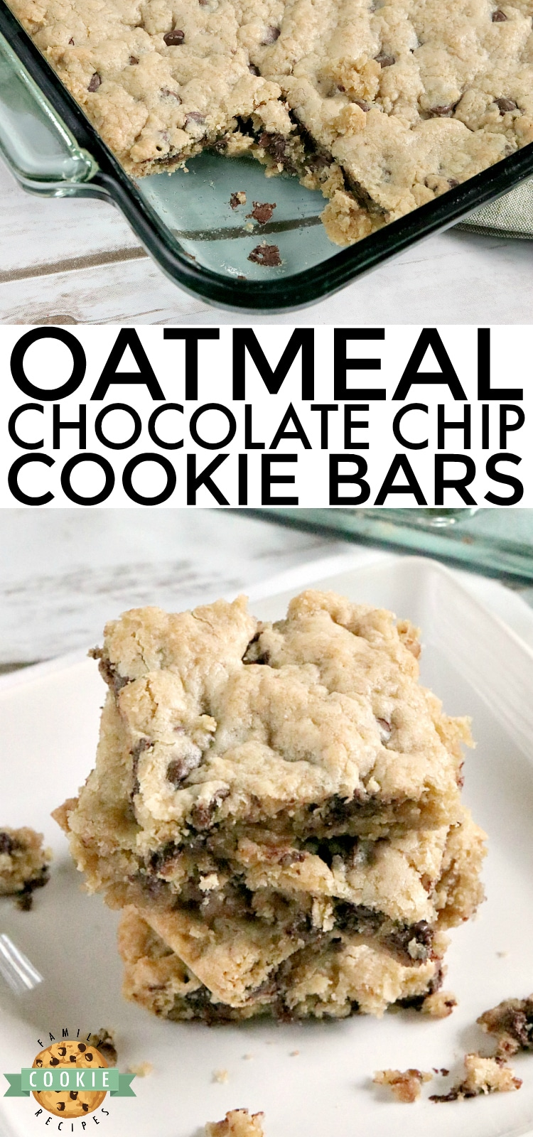 Oatmeal Chocolate Chip Cookie Bars are soft, chewy and easy to make when you don't have time to scoop individual cookies! This delicious cookie bar recipe is filled with oats and chocolate chips and comes together in just a few minutes. via @familycookierecipes