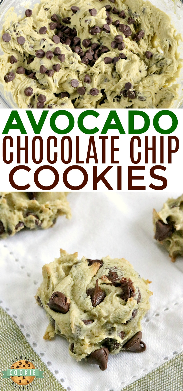 Avocado Chocolate Chip Cookies are soft, chewy and delicious! These chocolate chip cookies are made with avocado instead of butter - you've got to try it sometime!