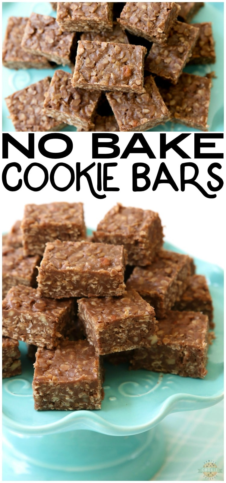 No Bake Cookie Bars recipe is a quick variation on THE BEST no bake cookies recipe. Made with quick oats & chocolate chips, these no bake oatmeal cookies couldn't be tastier! via @familycookierecipes