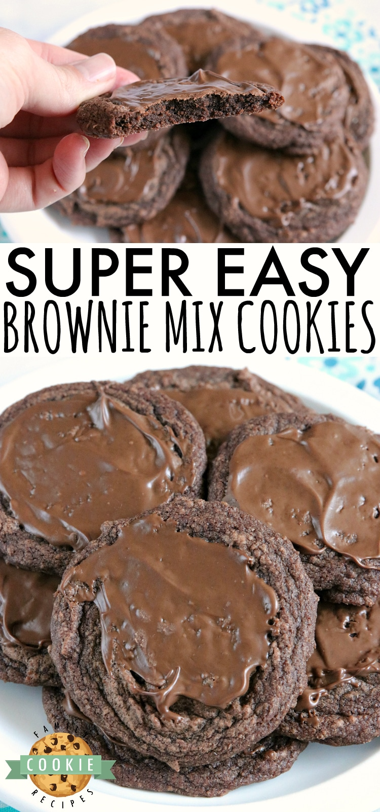 Easy Brownie Cookies are easily made with a brownie mix, butter and an egg and then frosted with a little bit of a melted Hershey bar. One of the easiest cookie recipes ever and they taste just like brownies...in cookie form! via @buttergirls
