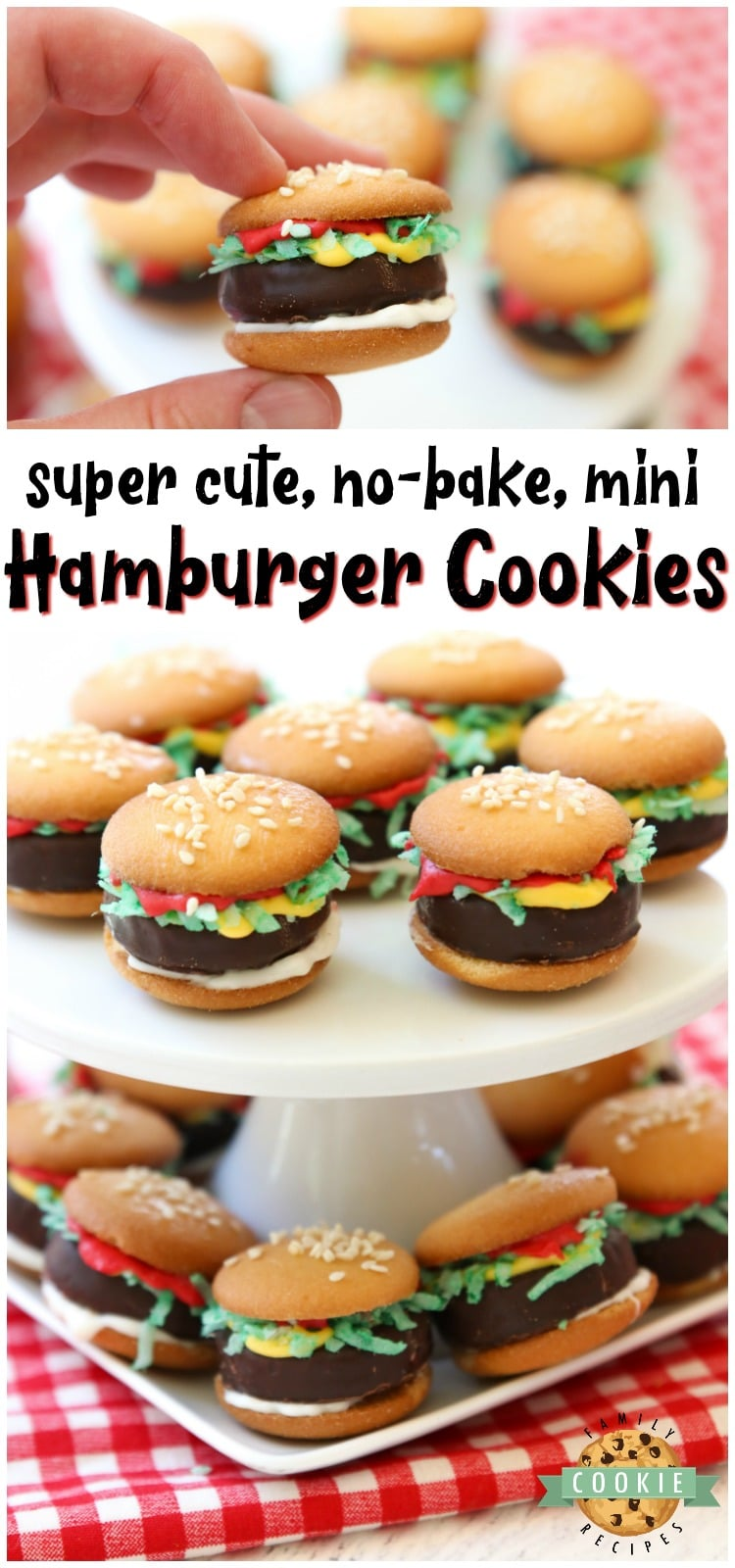 Mini Hamburger Cookies made from Nilla Wafers, York Peppermint Patties and melted candy! Super cute no-bake hamburger cookies that kids go crazy over! via @buttergirls
