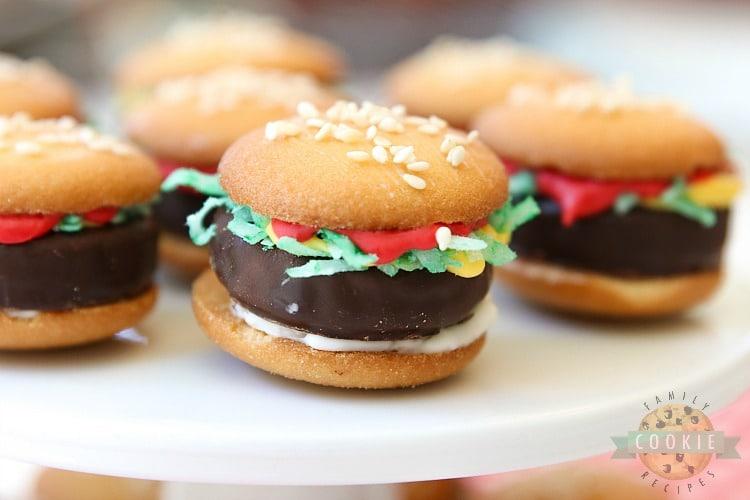 cute nilla wafer hamburger cookies