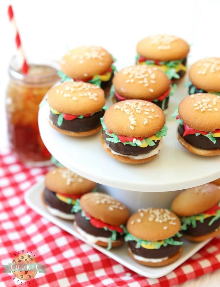mini hamburger cookies no bake