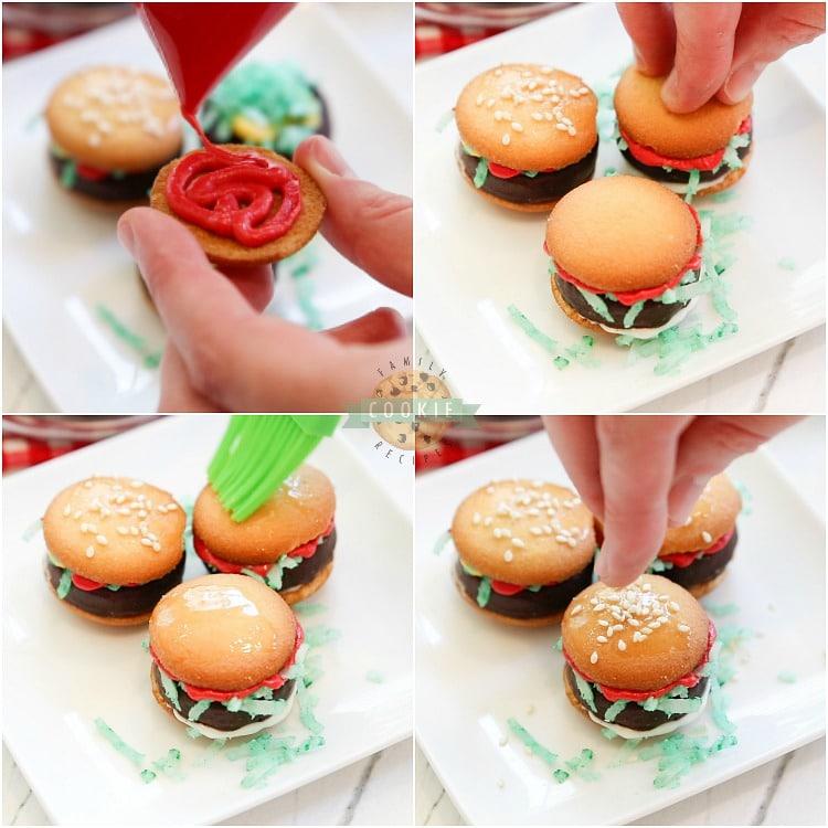 directions for making no bake hamburger cookies