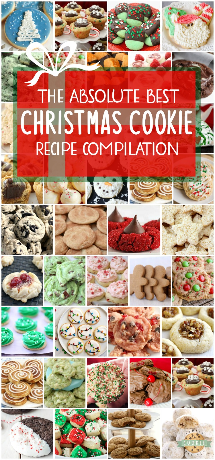 Best collection of easy Christmas Cookies ever- they're even approved for Santa himself! Our Christmas cookies are perfect for holiday parties, cookie exchanges and neighbor goodie plates! via @familycookierecipes