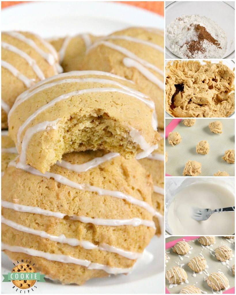 Step by step instructions on how to make glazed pumpkin cookies