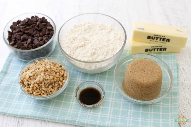 ingredients needed for chocolate chip cookie bars recipe
