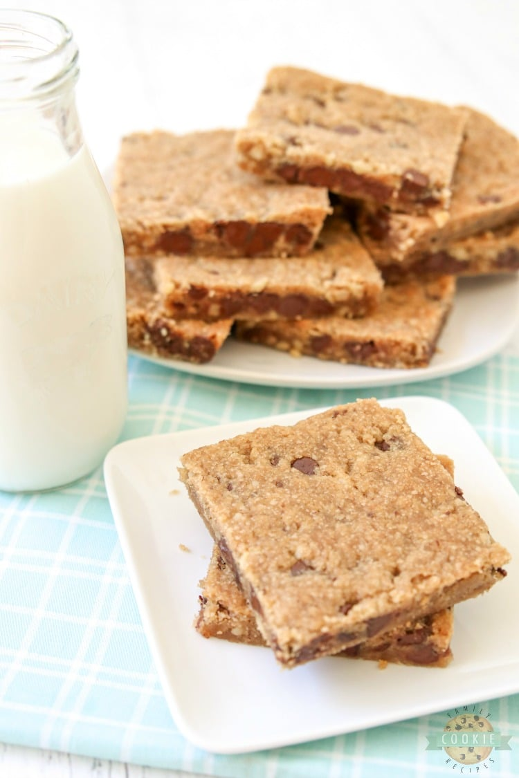 chocolate chip cookie bars go good with milk!