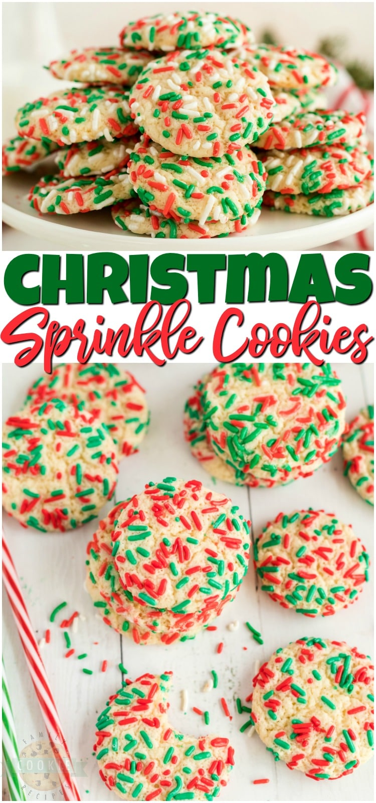 Christmas Sprinkle Cookies are sugar Cookies rolled in Christmas sprinkles for a special holiday treat! Delightfully soft & chewy Christmas cookies made with festive holiday sprinkles! #Christmas #sugarcookies #sprinkles #cookies #baking #holidays #neighborgifts #ChristmasCookies from FAMILY COOKIE RECIPES