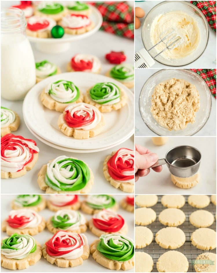 Christmas Rose Sugar Cookies
