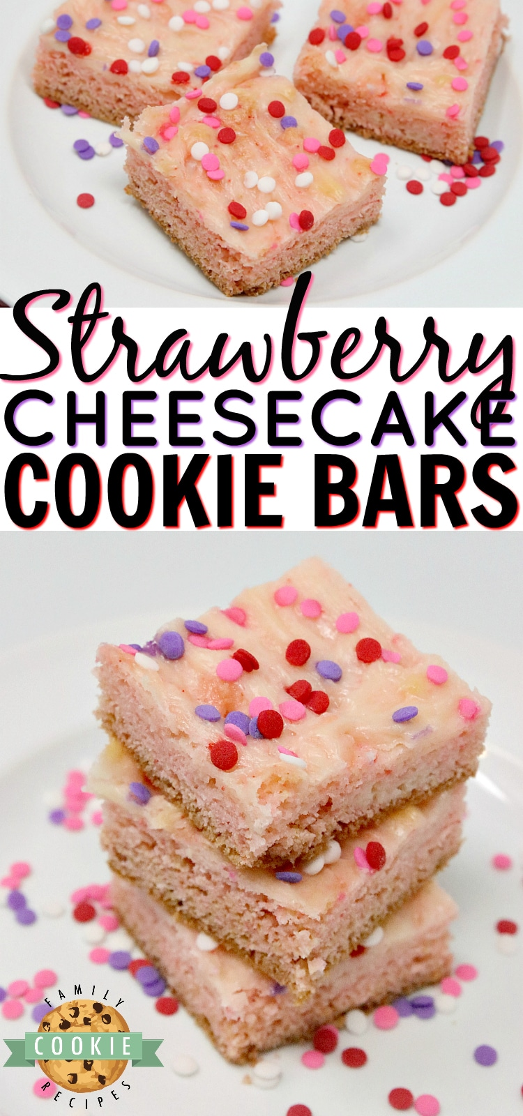 Strawberry Cheesecake Cookie Bars are made with a strawberry cake mix with a simple sweet cream cheese filling swirled in. Only 6 ingredients for these simple cookie bars that are soft, sweet and taste like strawberry cheesecake in cookie form!