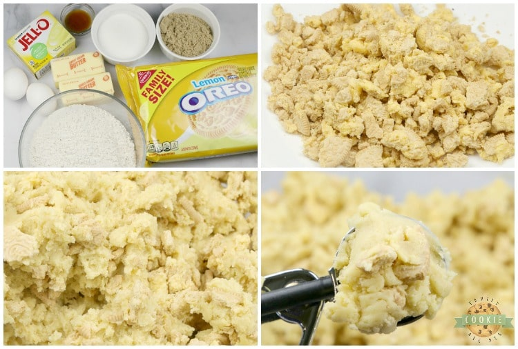 Step by step instructions on making lemon pudding cookies with crushed Lemon Oreos