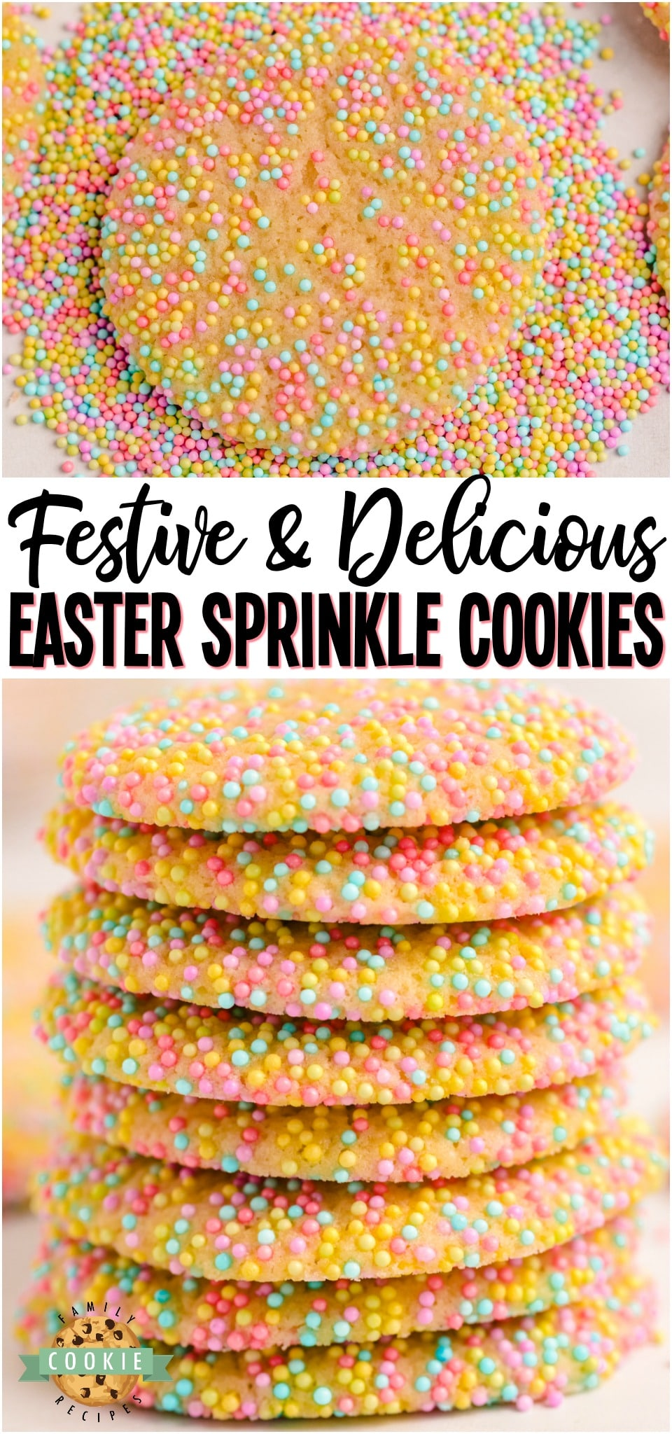 Easter Sprinkle Cookies are a great way to celebrate the holiday with a sweet treat. The colorful sprinkles on a soft and chewy sugar cookie make for a delicious snack that looks as good as it tastes! #Easter #Spring #summer #cookies #baking #Sprinkles #SprinkleCookies #cookies #dessert from FAMILY COOKIE RECIPES via @buttergirls