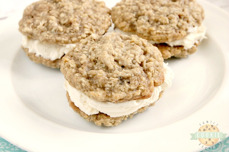 Oatmeal Cookie sandwich with creamy filling