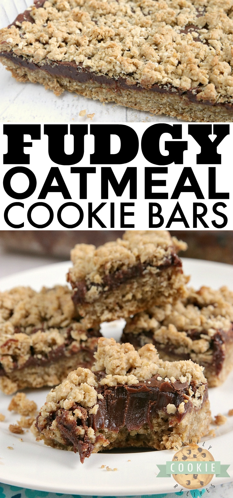 Fudgy Oatmeal Cookie Bars are made with a thick chocolate ganache in between two layers of a soft and chewy oatmeal cookie recipe. This cookie bar recipe is absolutely amazing! via @familycookierecipes