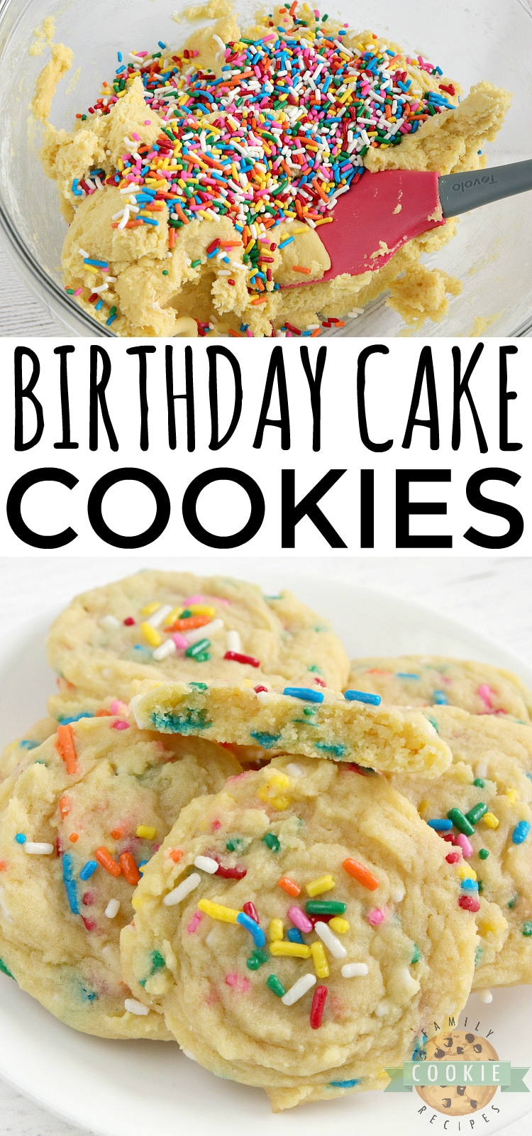 Birthday Cake Cookies are soft vanilla cookies with lots of sprinkles! This simple cookie recipe tastes like your favorite birthday cake in cookie form. via @familycookierecipes