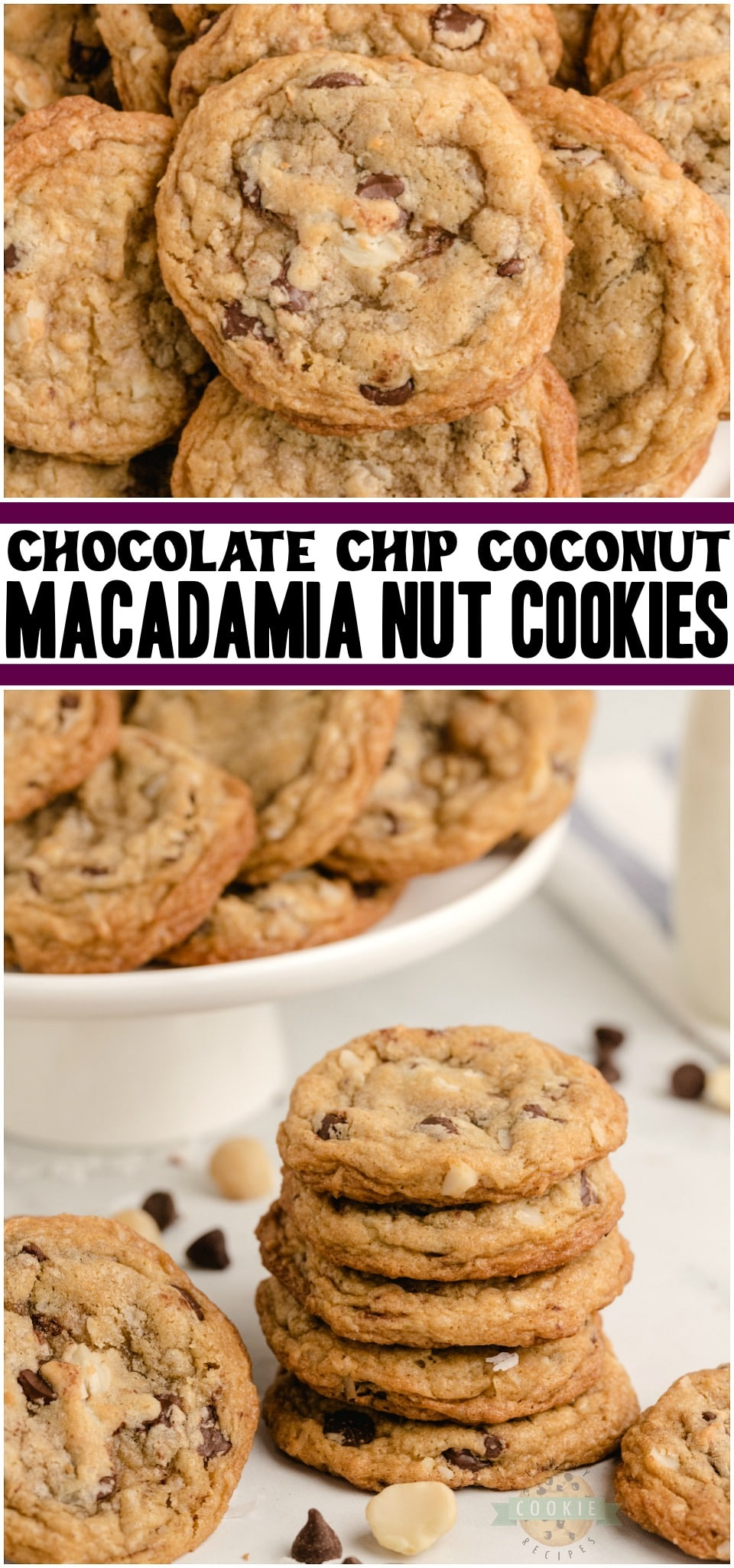 Chocolate chip macadamia nut cookies are soft & chewy cookies loaded with sweet chocolate and nuts! These Coconut Macadamia Nut Cookies are perfect for chocolate chip lovers who want to try something a bit different. #chocolatechip #coconut #macadamianut #cookies #baking #dessert #chocolatecoconut #recipe from FAMILY COOKIE RECIPES via @familycookierecipes