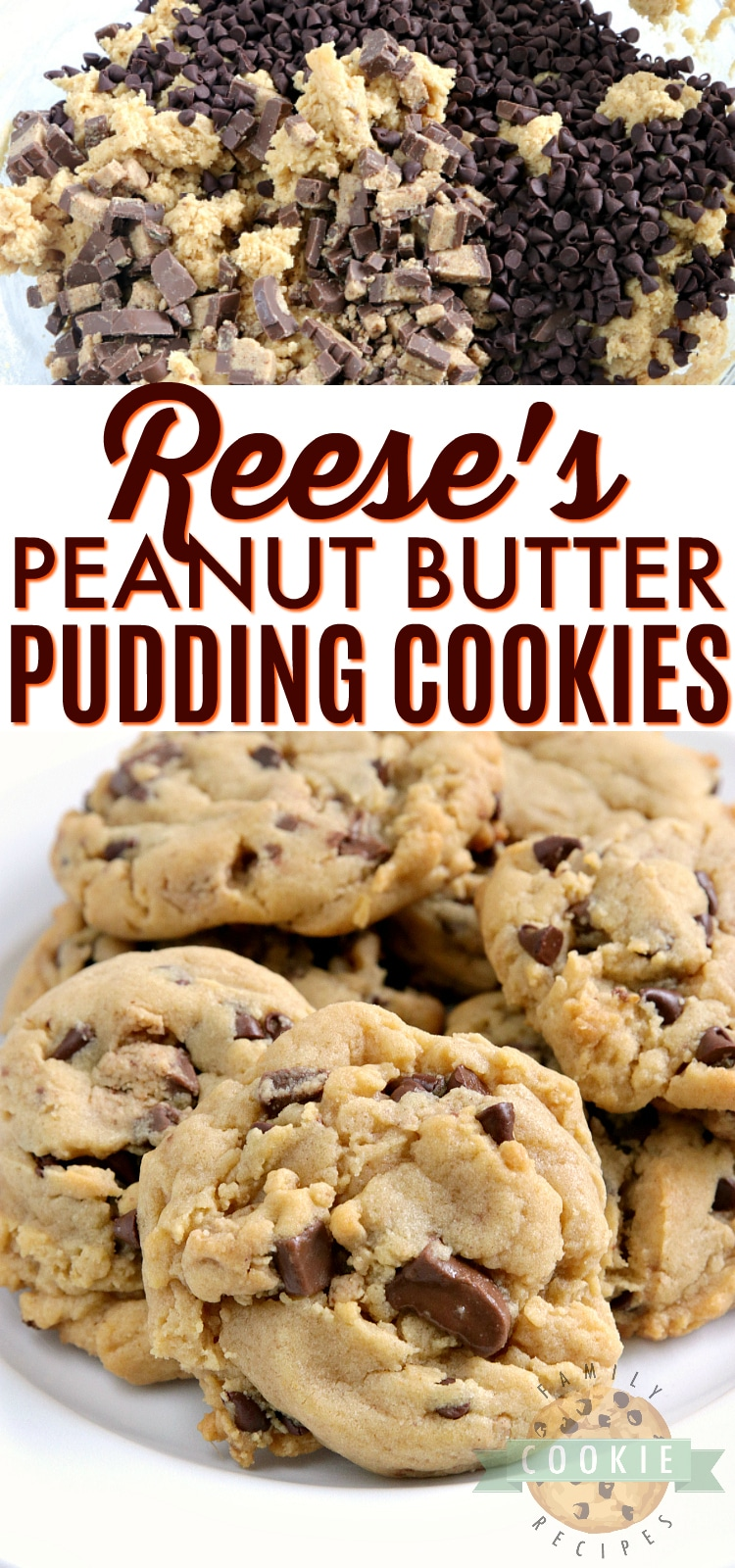 Reese's Peanut Butter Pudding Cookies are soft and chewy peanut butter cookies made with vanilla pudding mix and chopped up Reese's peanut butter cups too! via @familycookierecipes