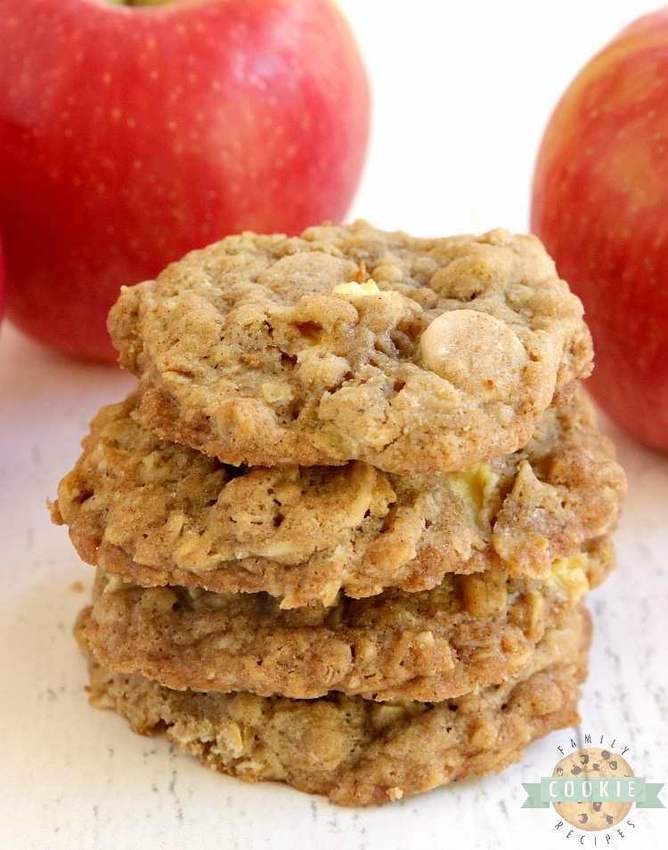 Oatmeal cookies with diced apples and caramel chips