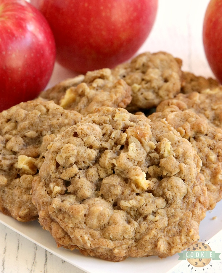 Caramel Apple Oatmeal Cookies are soft, chewy and full of fresh apples and caramel baking chips. Perfect cookie recipe for fall!