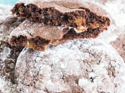 Salted Caramel Chocolate Crinkle Cookies recipe