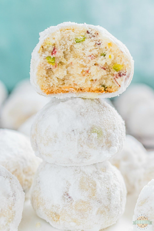 Cranberry Pistachio Snowball Cookies recipe