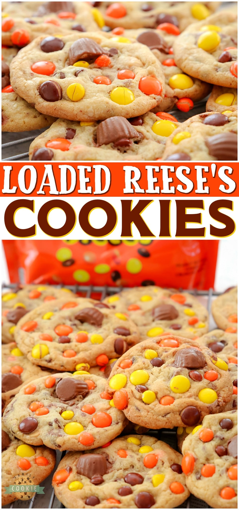 Loaded Reese's Pieces Cookies PERFECT for Reese's Peanut Butter Cup lovers! Soft & buttery cookies packed with Reese's Pieces & topped with mini PB cups for an over-the-top Reese's dessert! #cookies #Reeses #peanutbutter #chocolatechip #baking #easyrecipe from FAMILY COOKIE RECIPES via @familycookierecipes
