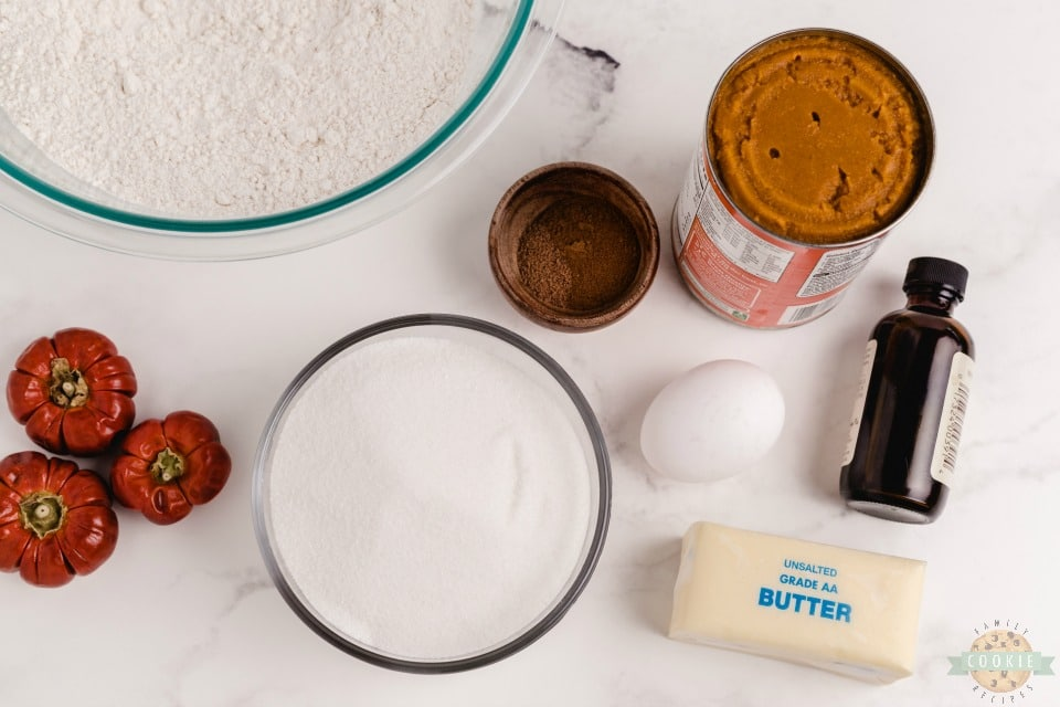 ingredients for pillowy soft iced pumpkin cookies
