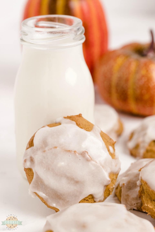 pillowy soft iced pumpkin cookies