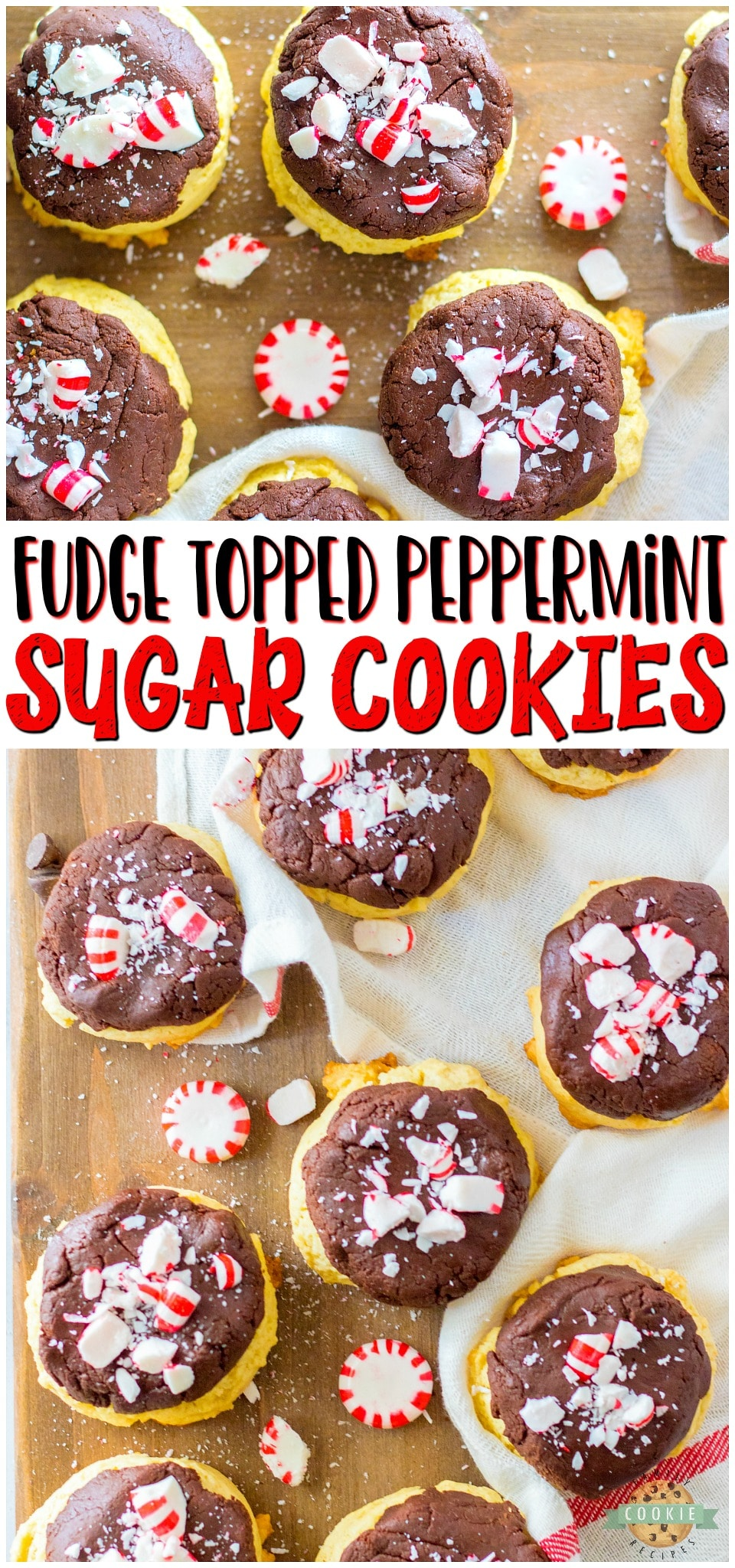 Peppermint Fudge Sugar Cookies are two favorites in one! Soft sugar cookies topped with a chocolate peppermint fudge & crushed candy canes for an over-the-top Christmas treat! #cookies #fudge #peppermint #baking #christmas #easyrecipe from BUTTER WITH A SIDE OF BREAD via @buttergirls
