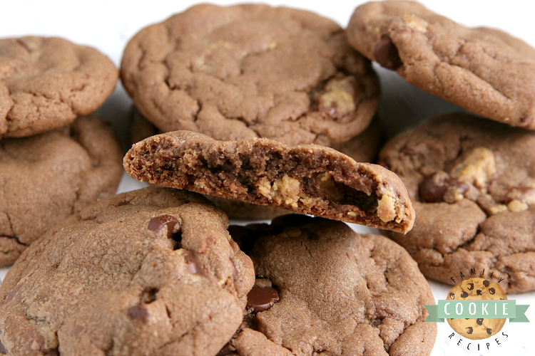Peanut butter cookies with chocolate and peanut butter cups