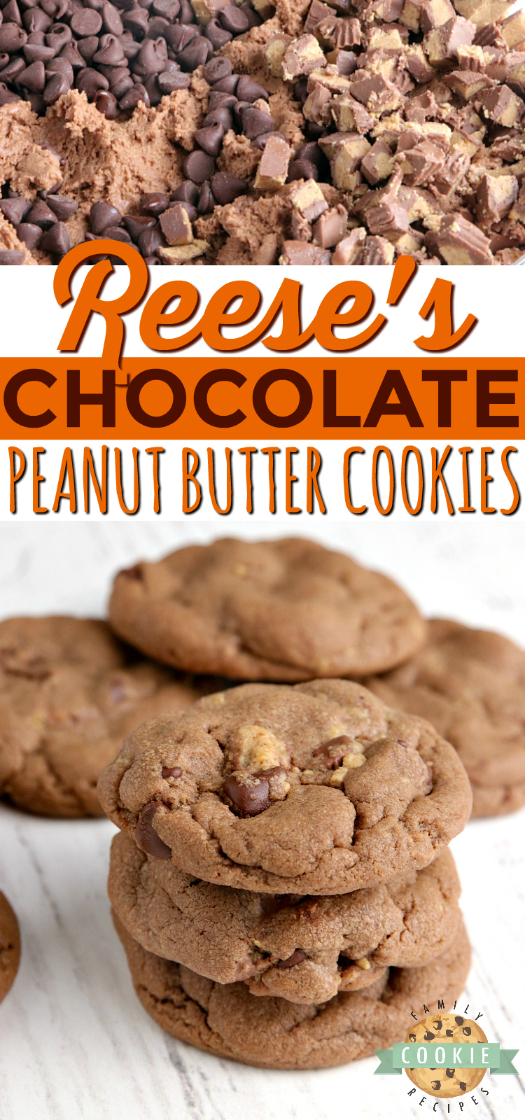 Reese's Chocolate Peanut Butter Cookies are full of chocolate, peanut butter and Reese's Peanut Butter Cups. Peanut butter cookie recipe that is soft, chewy and absolutely perfect! via @familycookierecipes
