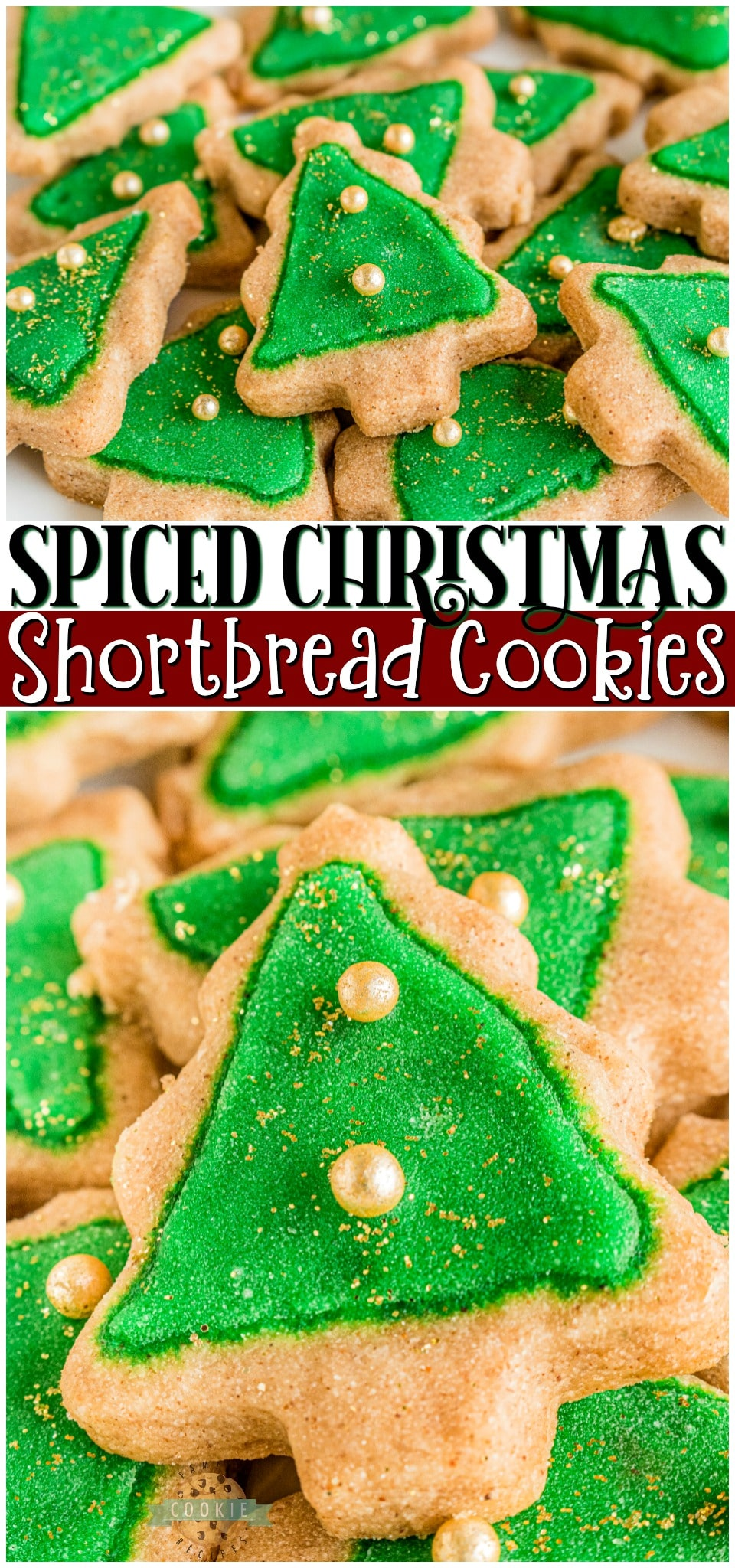 Spiced Christmas Shortbread Cookies made with cinnamon & allspice in the dough and topped with a simple icing recipe for perfect Christmas cookies! Buttery shortbread cookies with great flavor & texture for holiday baking. #Christmas #shortbread #cookies #baking #cinnamon #cookierecipe #holidaybaking from FAMILY COOKIE RECIPES via @familycookierecipes