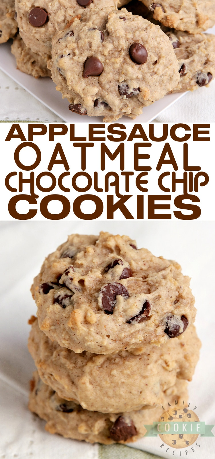 Applesauce Oatmeal Chocolate Chip Cookies are moist, soft and packed with flavor. Delicious applesauce cookies that are simple to make and are absolutely delicious too! via @familycookierecipes