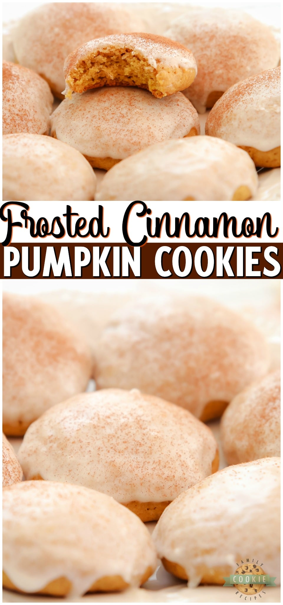 Iced Cinnamon Pumpkin Cookies are soft & pillowy pumpkin cookies topped with a simple vanilla icing and cinnamon. Lovely texture & flavor in these homemade pumpkin sugar cookies. #pumpkin #cookies #iced #baking #desserts #easyrecipe from FAMILY COOKIE RECIPES via @familycookierecipes