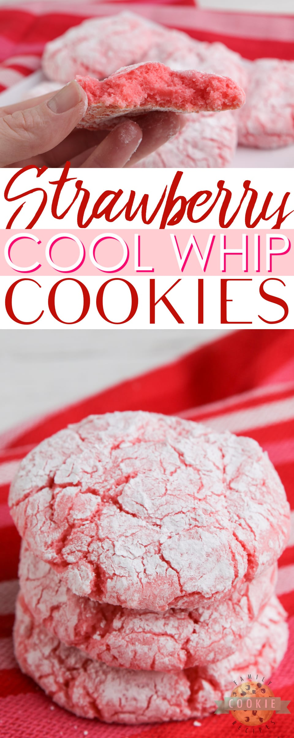 Strawberry Cool Whip Cookies made with a strawberry cake mix, Cool Whip and an egg. A lighter cookie recipe that is easy to make and with less calories than traditional cake mix cookies! via @familycookierecipes