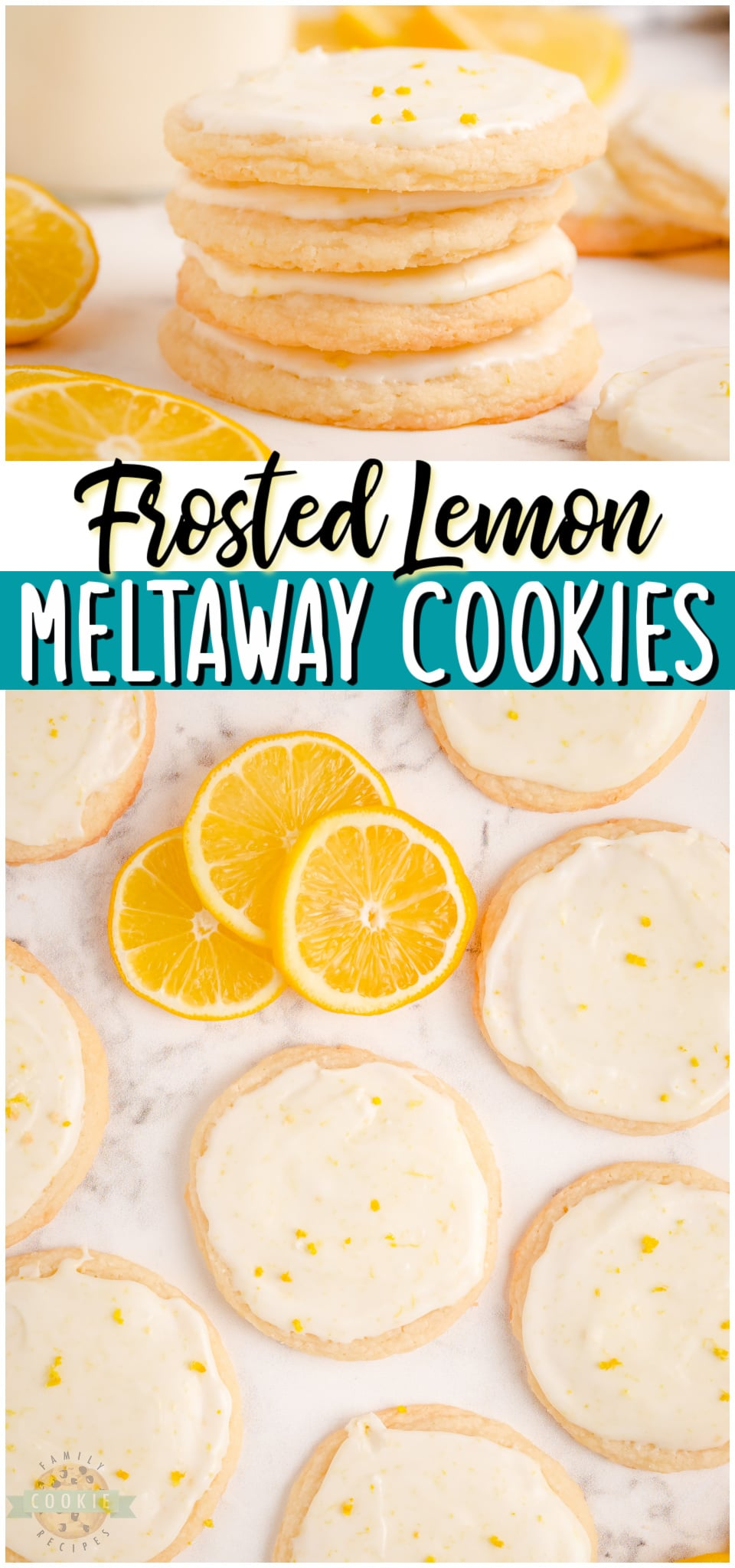 Lemon Meltaways made with simple ingredients like butter, flour, lemon zest & cornstarch. Soft, tender meltaway cookies topped with a lovely fresh lemon glaze!  #lemon #cookies #meltaways #baking #dessert #easyrecipe from FAMILY COOKIE RECIPES via @familycookierecipes