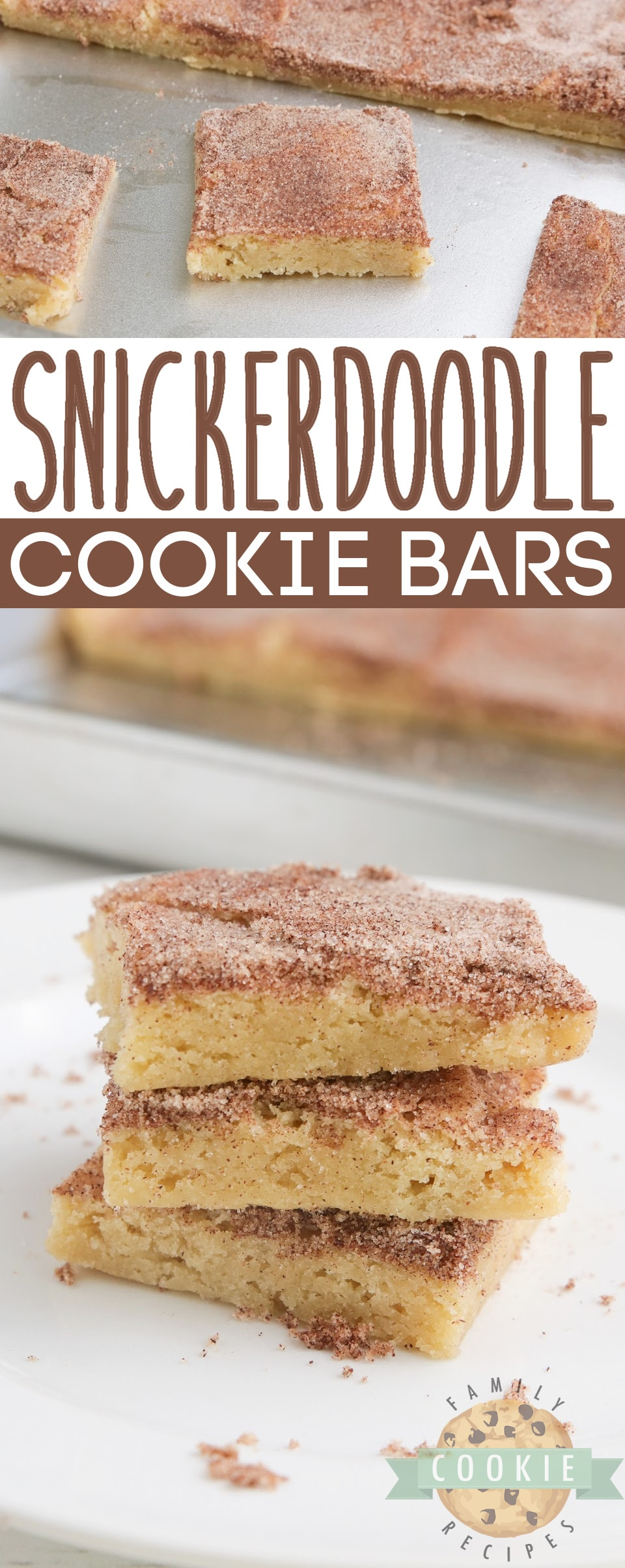 Snickerdoodle Cookie Bars are soft, delicious and packed with that cinnamon flavor we all love! Simple snickerdoodle recipe that is made in a sheet pan and can be easily sliced and served. via @familycookierecipes