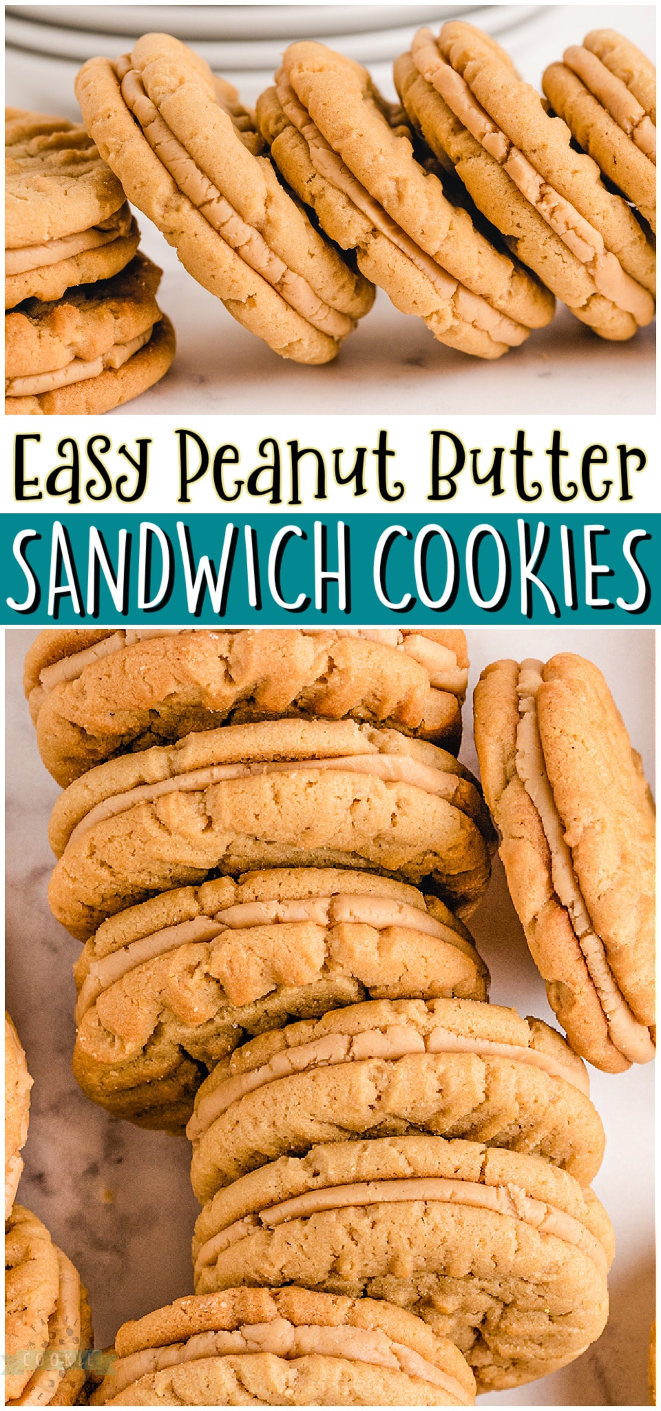 Peanut Butter Sandwich Cookies made with chewy peanut butter cookies & a creamy peanut butter filling. Peanut Butter lovers rejoice! We're sharing our homemade peanut butter cookie sandwiches that everyone goes crazy over!