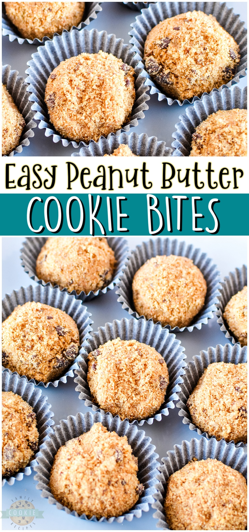 Peanut butter cookie bites made with just 3 ingredients including store-bought chocolate chip cookies, peanut butter & powdered sugar. Simple, tasty no-bake cookie recipe that is fun to make & eat!#cookies #cookiebites #nobake #peanutbutter #easyrecipe from FAMILY COOKIE RECIPES via @familycookierecipes