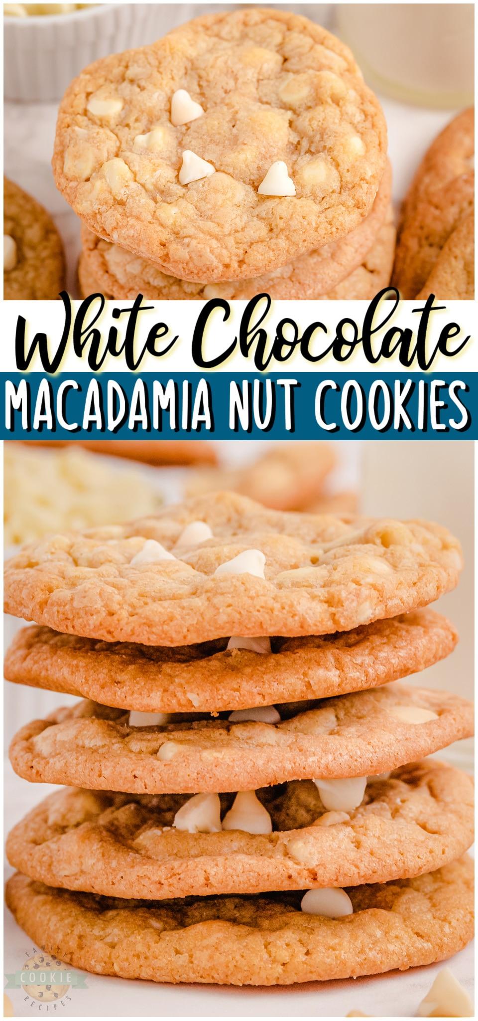 White chocolate chip cookies with macadamia nuts are a tasty treat that everyone can enjoy. With the soft and chewy cookies, buttery nuts and melt in your mouth chocolate chips, each bite is amazing!