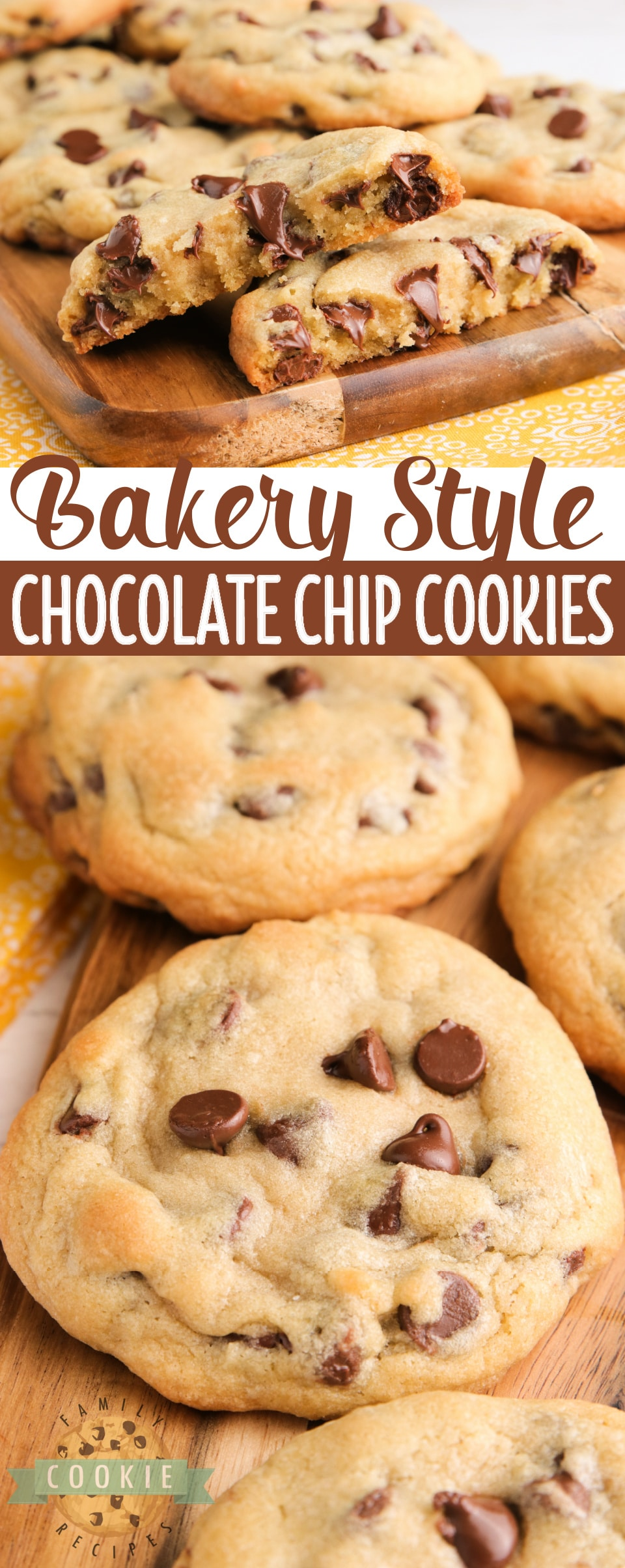 Bakery Style Chocolate Chip Cookies are large, crisp on the very outside and soft in the middle. The perfect chocolate chip cookie recipe that you've been looking for all your life! via @familycookierecipes