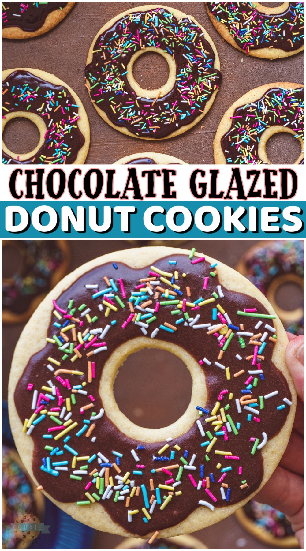 Chocolate Glazed Donut Cookies made to look like your favorite breakfast treat! Sugar cookies cut to look like chocolate donuts are the best kind of cookies. Don't forget the sprinkles! via @familycookierecipes
