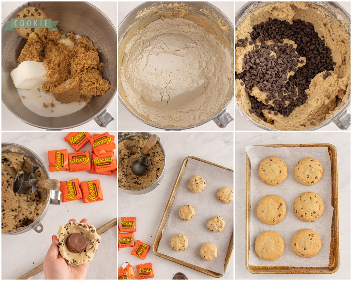 chocolate chip cookies dough with reese's stuffed inside