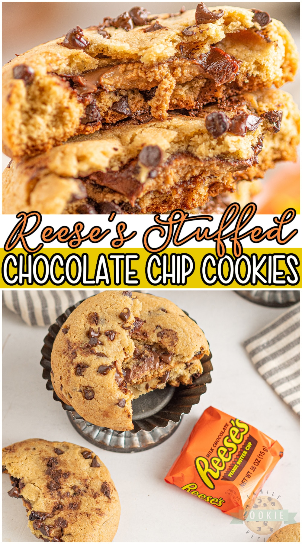 Chocolate Chip Cookies stuffed with a Reese's Peanut Butter Cup for the ultimate cookie treat! Classic cookies with a fun twist for anyone who loves peanut butter + chocolate! #cookies #chocolatechip #reeses #peanutbuttercups #baking #easyrecipe from FAMILY COOKIE RECIPES via @buttergirls