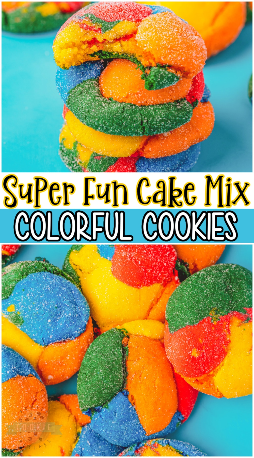 Bright & fun Colorful Cookies made with a cake mix! Simple recipe for soft, festive cookies perfect for Back To School. Your boxed cake mix is about to get an inventive and creative new upgrade! #colorful #cookies #backtoschool #colors #rainbow #baking #easyrecipe from FAMILY COOKIE RECIPES via @buttergirls